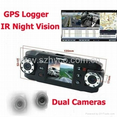 dual lens night vision car black box with gps logger and G-Sensor