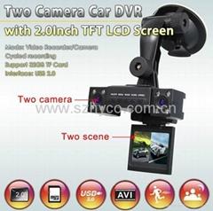 Transformer style night vision dual camera vehicle black box