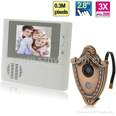 2.8 inch electronic peephole viewer with 3X digital zoom & doorbell function 1