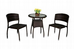 3 Piece Patio Wicker Table and Chair