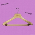 HW-01 wood-colored menswear beech wooden hangers 1