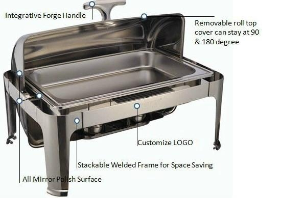 Food Warmers For Catering ~ Deluxe roll top chafer food warmer for catering wh