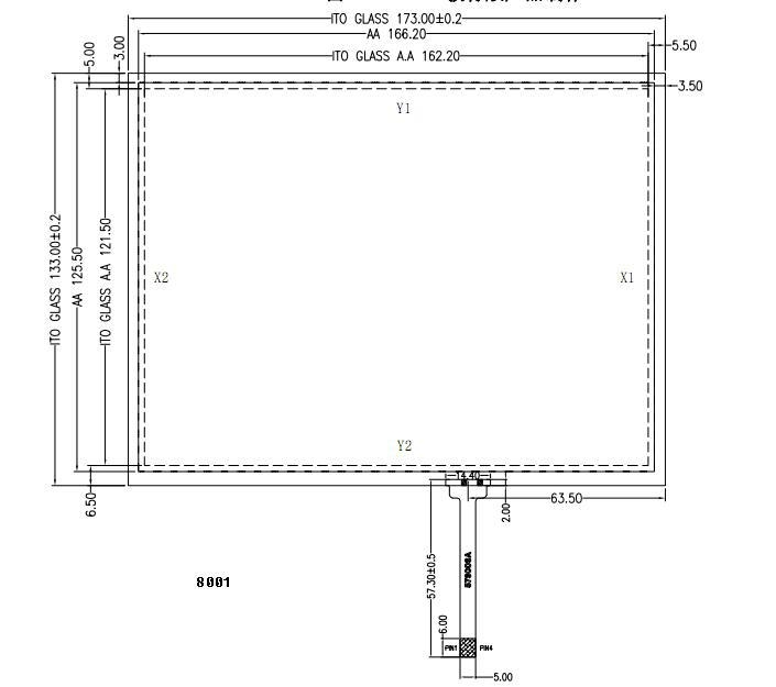 """8"""" 4-wire resistive touch panel 1"""