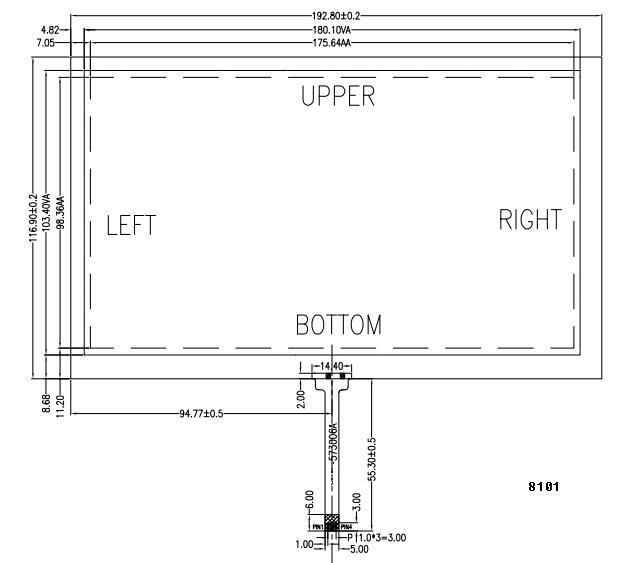"""8"""" 4-wire resistive touch panel 4"""