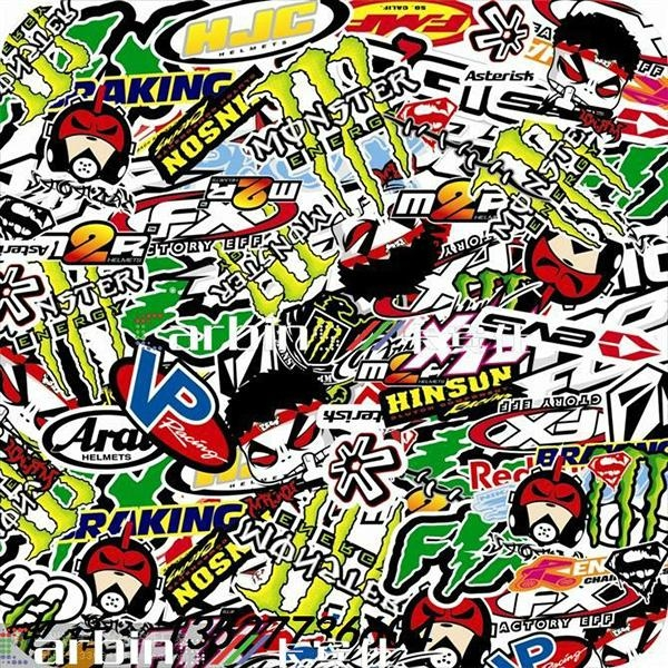 New design graffiti sticker bomb vinyl wrap film for car bubble free 5