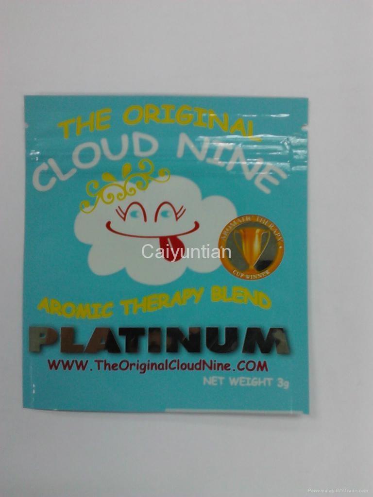 Custom Cloud Nine Plastic Foil Zipper Bag For Herbal