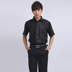 Freeship!men's  easycare non-ironing black short shirt