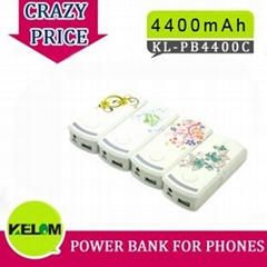 4400mAh New Design Portable Rechargeable Power Supply For Iphone, Smart Phone, M