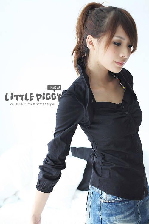 流行长袖黑衬衫 1
