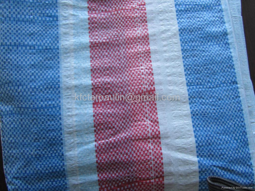 White/Blue/Red Stripe PE/PP Tarpaulin 1
