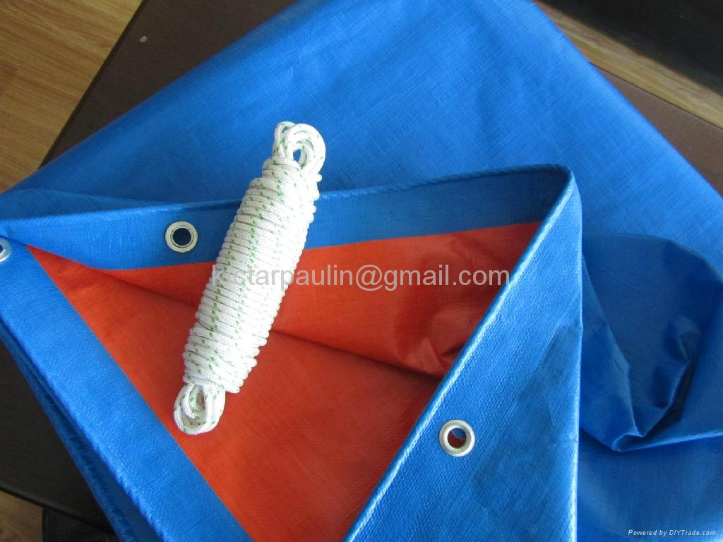 180gsm, 4X5m, Blue/Orange PE Tarpaulin Tent 1