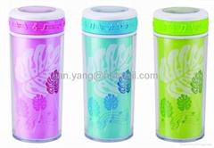 Double-deck plastic mug