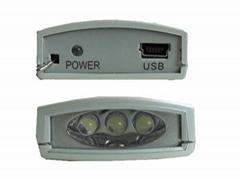 太陽能手電筒 3LED塑膠 USB充電