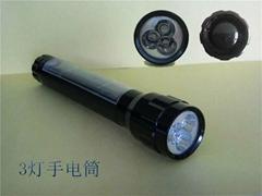 太陽能手電筒 3LED鋁合金手電筒