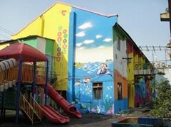 撫州幼儿園文化牆噴繪彩繪