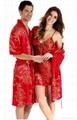 Male silk sleepwear short-sleeve robe
