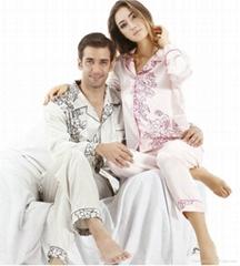 Autumn and winter lovers silk sleepwear women long-sleeve pyjamas set