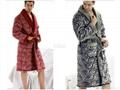 winter men's long-sleeve thickening coral fleece thermal bath robe 1
