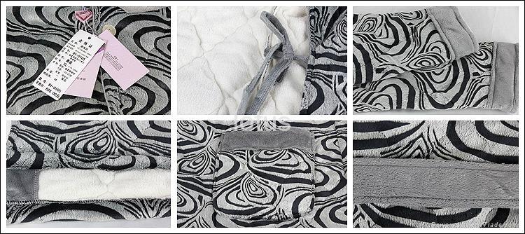 winter men's long-sleeve thickening coral fleece thermal bath robe 4