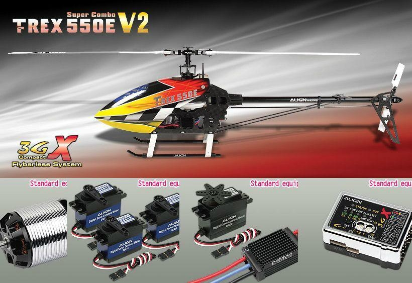 Align T-REX 550E 3GX Super Combo KX021008AT RC Helicopter ...