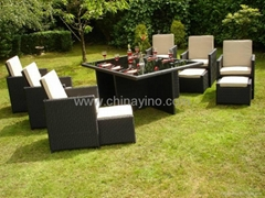 Rattan Outdoor Sectional Dining Table and Chairs Sets