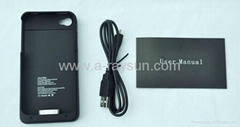 Wireless phone charger case, battery charger case 1900mah for iphone 4g/4s Langu