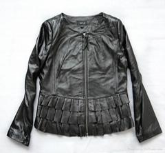 女士荷叶边短款皮衣|女士新款冬装时尚皮衣