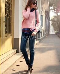 女式牛仔褲 顯瘦小腳藍色鉛筆褲