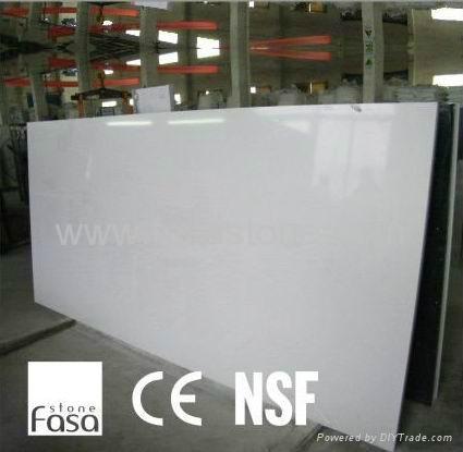 Nsf Approved Eco Fiendly White Quartz Slabs Fs1011 Fasa Stone