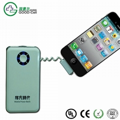 6000mAH  built in connector for Iphone, mobile power battery