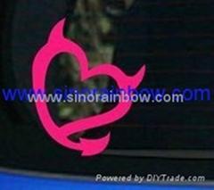 Die Cut Vinyl Devil Heart Car Decal- Pink 6x4.9 inches
