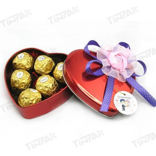 Heart Shape Valentine Gift Can Metal Chocolate Container Tin