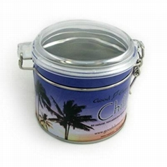 round tea/coffee airtight tin container with clear pp lid,metal tea box