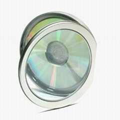 unique shape cd tin case,cd metal container with clear pvc window,metal cd box