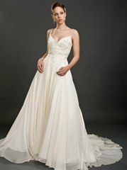Ball Gown Sweetheart Chapel Train Wedding Dress With Wrap