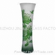 engraved high quality glass vase