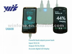 7200mAH dual usb battery charger for mobile phone with lcd screen and led light