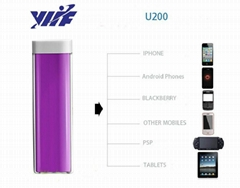 2500mah lipstick battery charger for mobile phone with 18650 li-ion battery