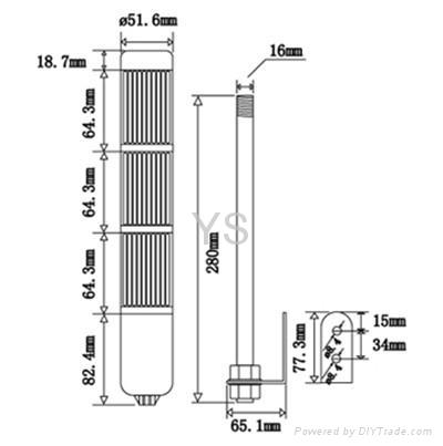 LTA504 led signal tower light steady with buzzer 85db 3