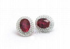 925 Sterling Silver Earring Imitation Jewelry(Synthetic Ruby) with micro setting