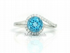 925 Sterling Silver Ring Swiss blue topaz Crystal Jewelry with micro setting