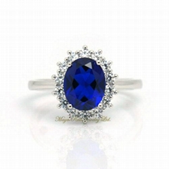Synthetic Sapphire Ring 925 Sterling Silver White Gold Plated Diana Item
