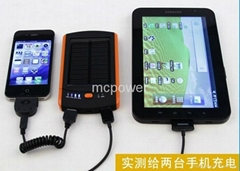 Portable Solar Charger 6000mAh Mobile Power Bank Dual USB Output Fast Charging