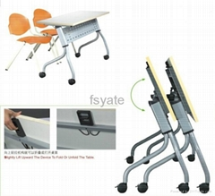 Aluminum Frame Lockable Castor Folding Table with mobile function