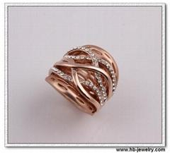 时尚水钻戒指 线条型戒指 波浪型戒指 时尚OL戒指批发工厂