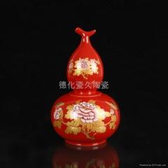 紅色葫蘆陶瓷茶葉包裝罐