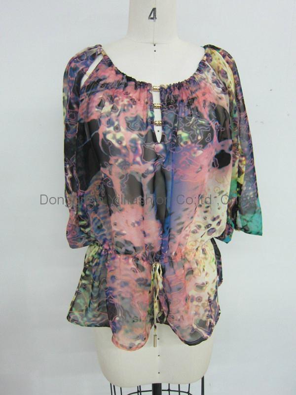 hotselling ladies fashion print tops 1
