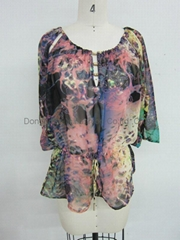 hotselling ladies fashion print tops