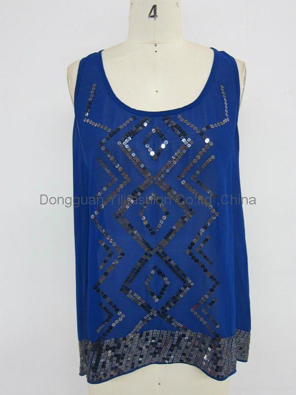 lady fashion casual  royal blue tank tops 1
