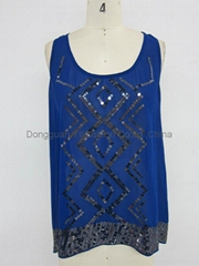 lady fashion casual  royal blue tank tops
